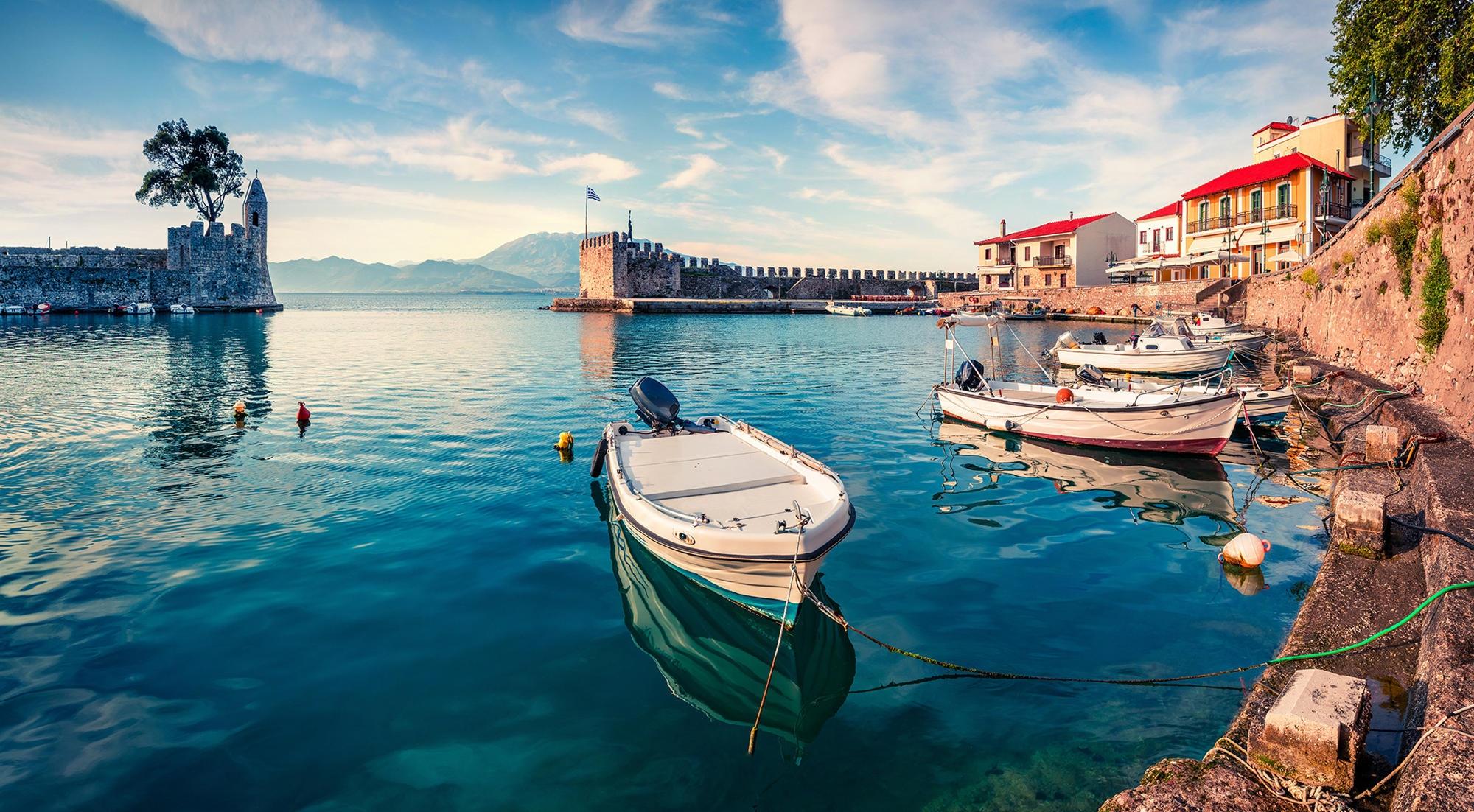 Nafpaktos, Greece - Discover Greece in 7 days tour from Igoumenitsa. Ancient towns, beaches, castles and monasteries. Monterrasol Travel tour with small group minivan.