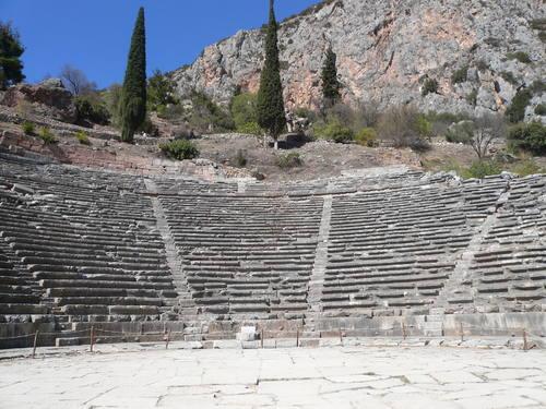 Delphi, Greece - Greece off-season UNESCO places tour 14 days from Athens. Monterrasol Travel minivan small group tour.