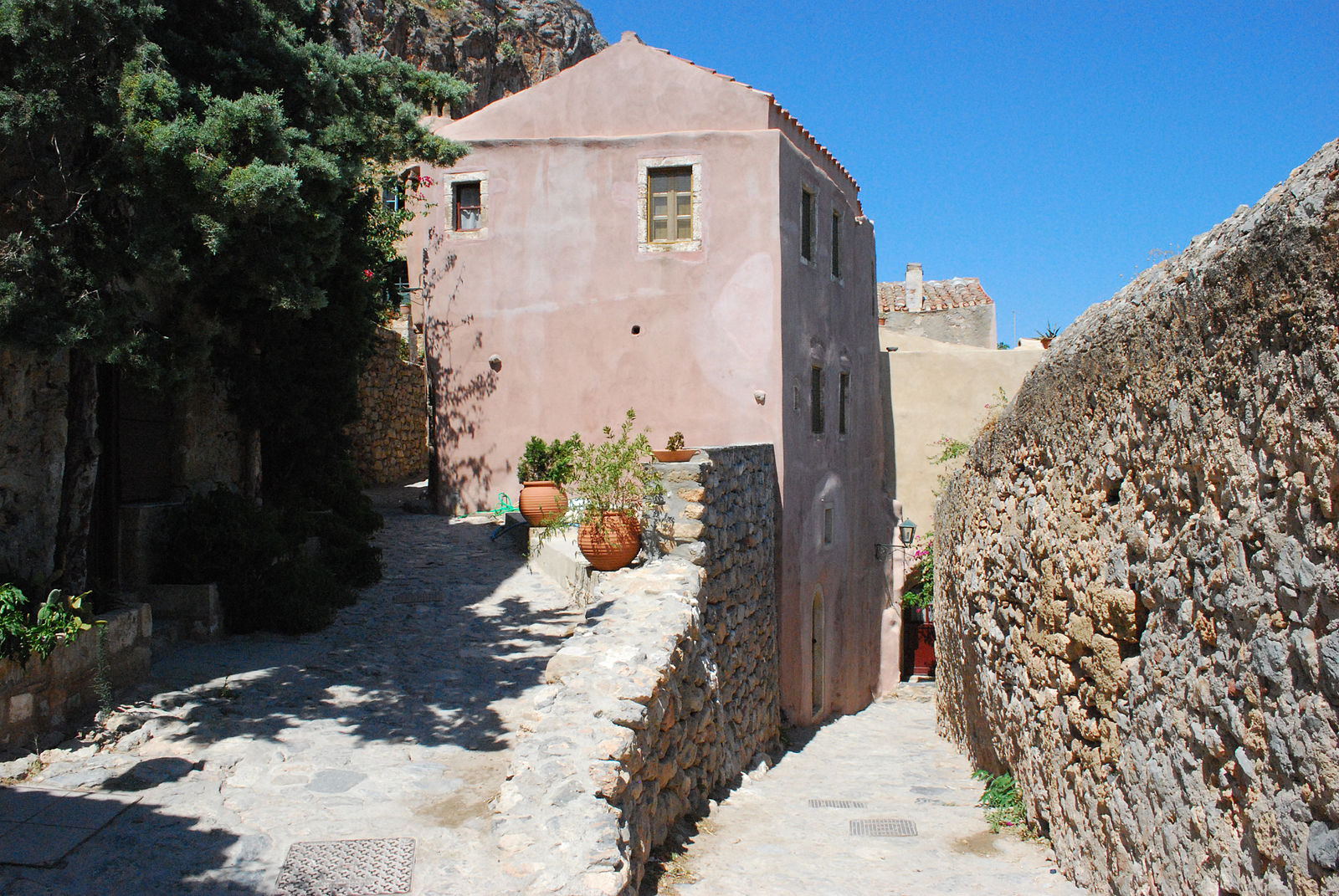 Monemvasia, Greece - Greek Peloponnese round tour in 15 days. Visit all main attraction of Peloponnese peninsula and see castles, ancient places, beaches. This is Peloponnese where located Sparta, Corinth, Mycenae, Epidaurus, Monemvasia.