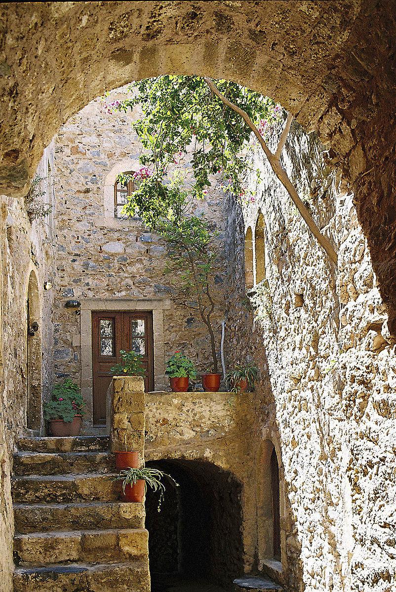 Monemvasia, Greece - Off-season 26 days tour Greece UNESCO sites from Igoumenitsa. Ancient towns, monasteries, castles. Small group tour from Monterrasol Travel in minivan.