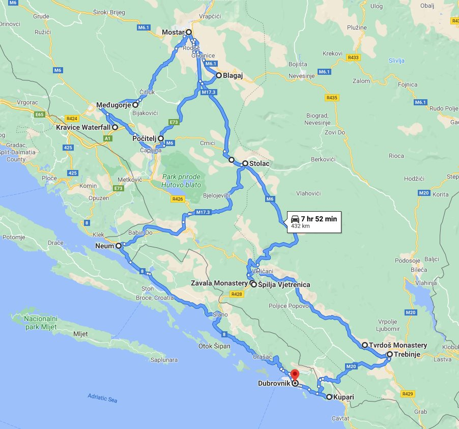 Tour map for Discover Bosnia in 4 days all seasons tour from Dubrovnik. Small group minivan tour by Monterrasol Travel. Visit fortresses, monasteries, old towns and cave.