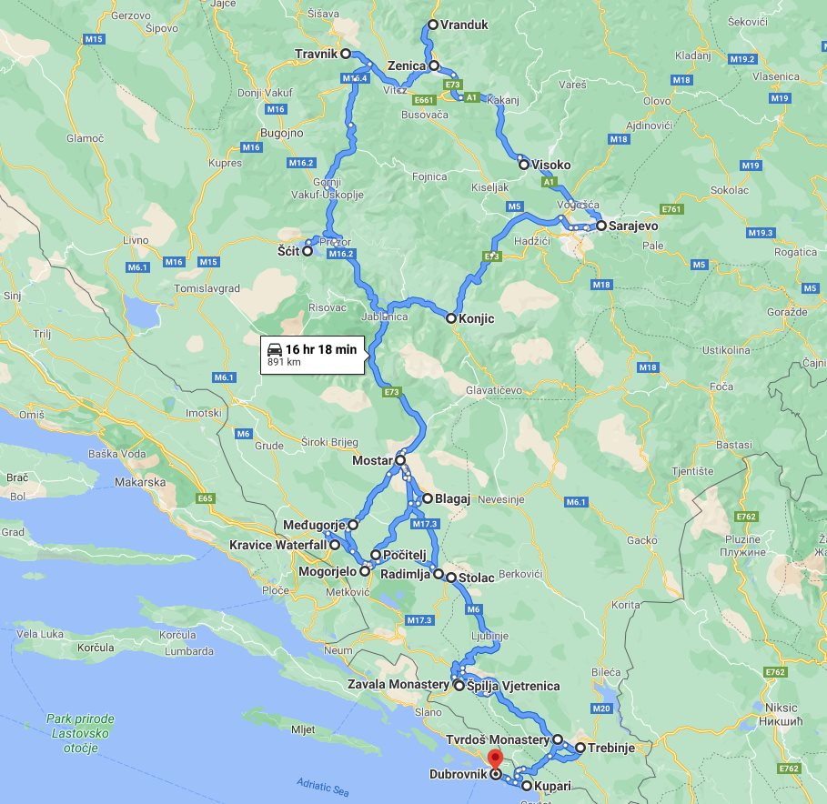 Tour map for Discover best of Bosnia in 7 days tour from Dubrovnik. Monterrasol Travel small group tour in minivan. Visit famous Mostar, Sarajevo, fortresses, natural park with waterfall and cave.