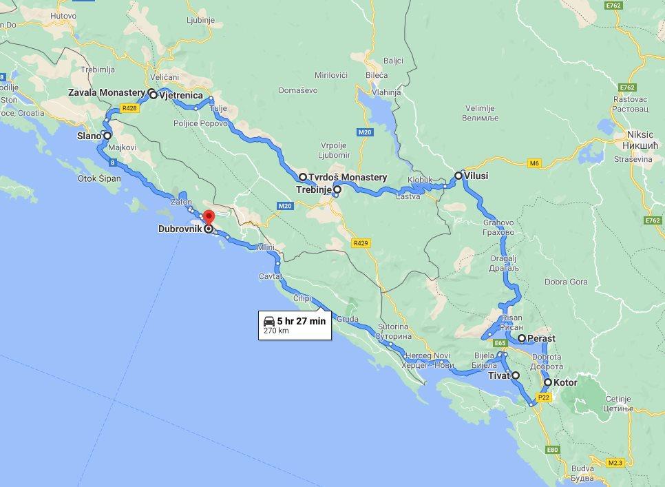 Tour map for Summer 6 days tour from Dubrovnik to visit Montenegro and explore Bosnia. Small group minivan tour by Monterrasol Travel. Ostrog monastery, Sarajevo, Mostar, Trebinje.