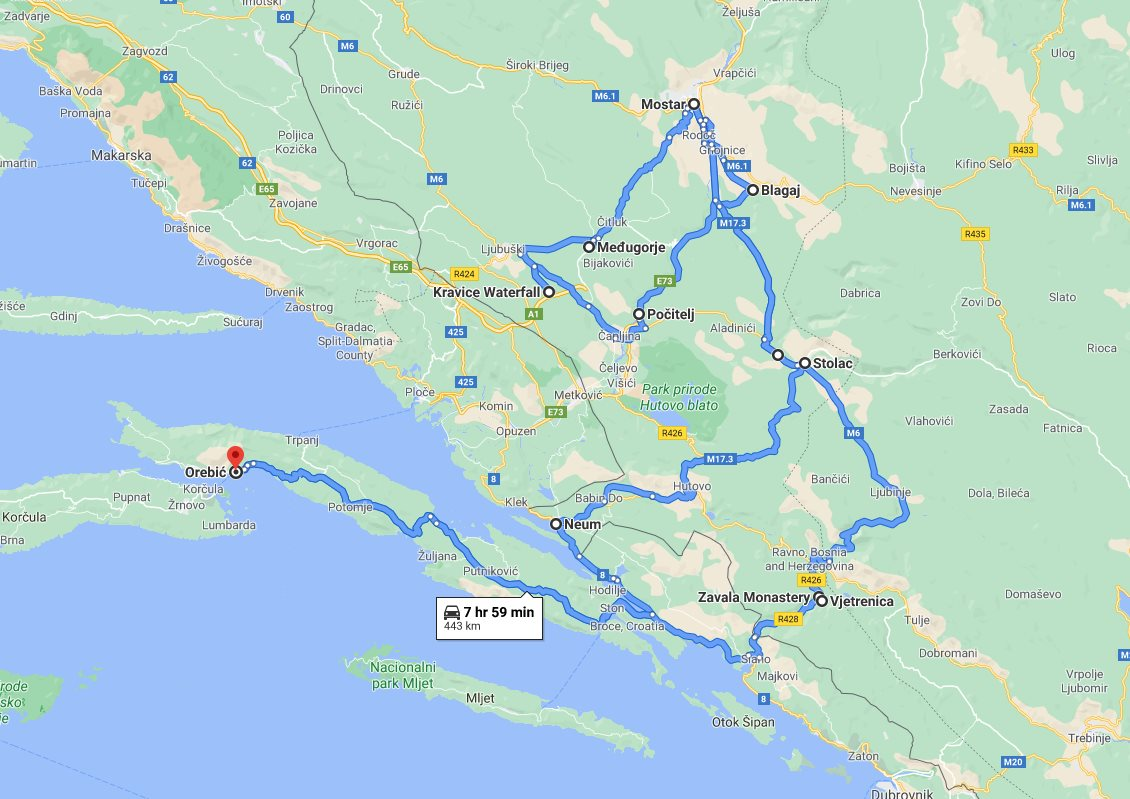 Tour map for All seasons best of Bosnia 3 days discovery tour from Korcula. Small group minivan tour by Monterrasol Travel. Old town Mostar, Kravice waterfalls, Zavala monastery, fortified town Počitelj.