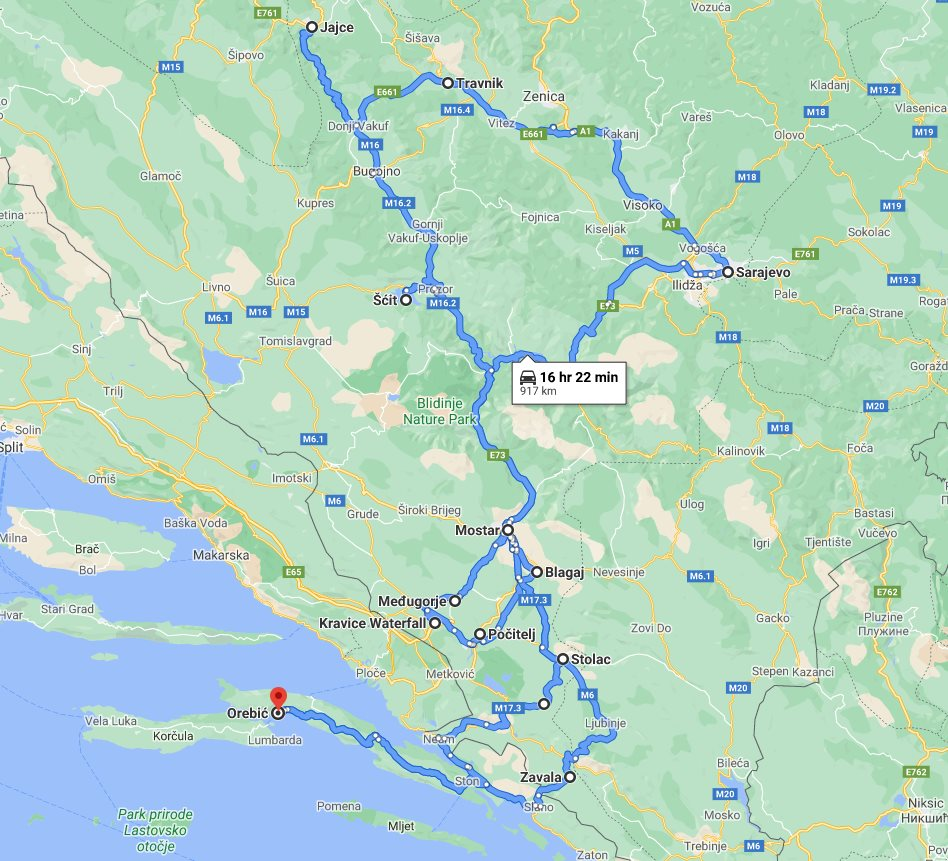 Tour map for All seasons explore Bosnia 7 days tour from Korcula. Monterrasol Travel small group tour in minivan. Jajce fortress, old Sarajevo, fortified town Počitelj, Zavala monastery and more.