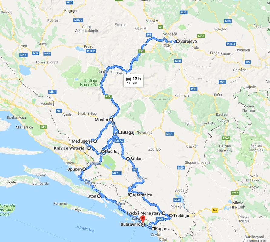 Tour map for All seasons 7 days tour to visit the best of Bosnia. Small group tour in minivan from Monterrasol Travel. Tour start in Dubrovnik. Visit fortresses, monasteries, old towns and cave.