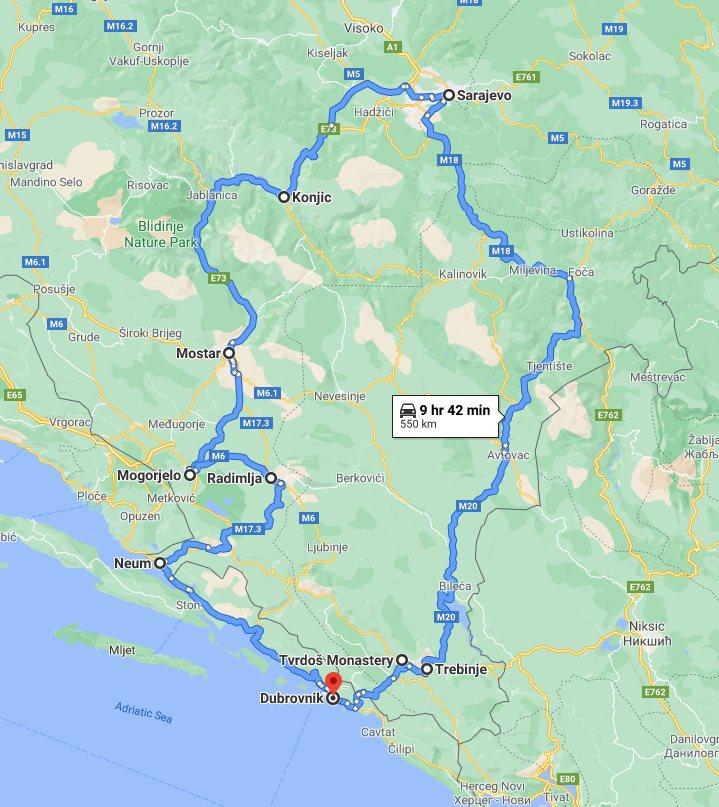 Tour map for #539 Bosnia discovery all seasons 3 days tour from Dubrovnik. Small group tour with minivan by Monterrasol Travel. Trebinje, Tvrdos, Sarajevo, Mostar, Mogorjelo, Dubrovnik Riviera.