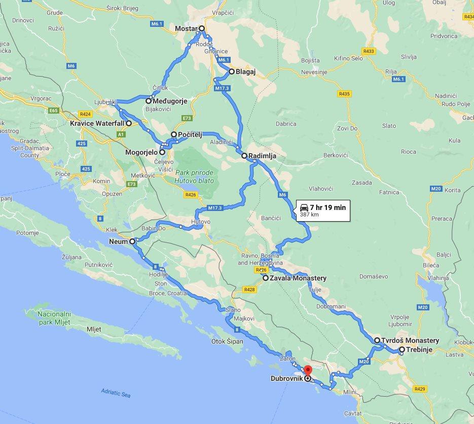 Tour map for #540 Bosnia discovery all seasons 3 days tour from Dubrovnik. Minivan small group tour by Monterrasol Travel. Trebinje, Tvrdos, Blagaj, Mostar, Medjugorje, Kravica, Pocitelj, Mogorjelo.