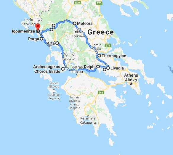 Tour map for Discover Greece in 7 days tour from Igoumenitsa. Ancient towns, beaches, castles and monasteries. Monterrasol Travel tour with small group minivan. Visit the most important Greece mainland UNESCO sites.