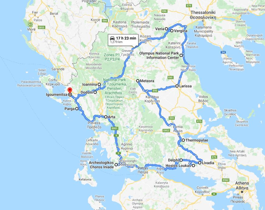 Tour map for Discover Greece in 9 days tour from Igoumenitsa. UNESCO sites, castles and monasteries. Monterrasol Travel small group car tour. Ancient towns, beaches, castles and monasteries of Greece mainland.