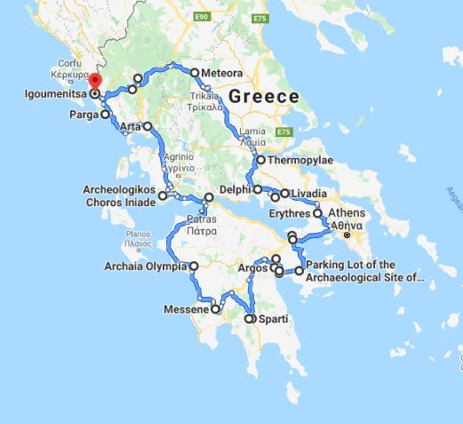 Tour map for Explore Greece by off-season 16 days tour from Igoumenitsa. UNESCO sites, fortresses, monasteries. Small group tour from Monterrasol Travel by car. Discover main UNESCO sites of Peloponnese and Greece mainland.