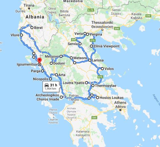 Tour map for Greece+Albania off-season UNESCO sites tour 19 days from Igoumenitsa. Monterrasol Travel minivan small group tour. Visit most of UNESCO Greece mainland and Albania places.