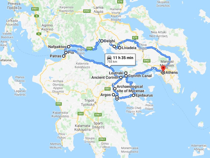 Tour map for Greece discovery 9 days tour from Athens. Ancient towns, beaches, castles and monasteries. Small group tour in minivan by Monterrasol Travel. Discover central Greece: Delphi, Nafpaktos, Corinth, Mycenae.
