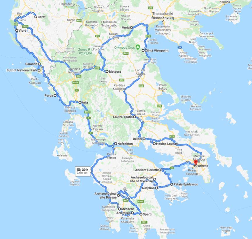 Tour map for #554 Off-season Greece+Albania UNESCO places 26 days tour from Athens. Monterrasol Travel tour in small group minivan. Visit most of UNESCO Greece+Albania places.