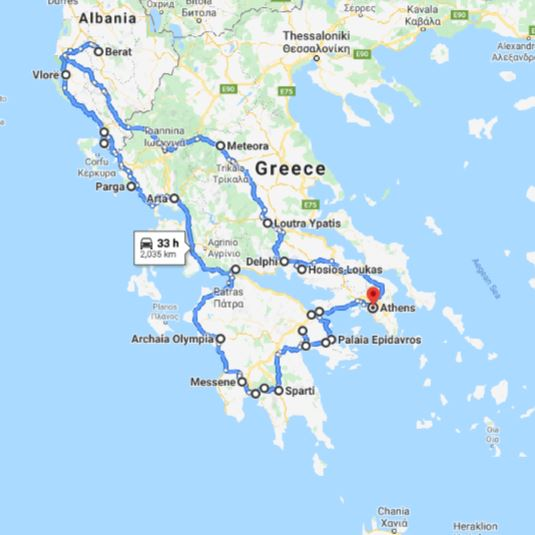 Tour map for Greece+Albania off-season UNESCO sites tour 22 days from Athens. Monterrasol Travel minivan small group tour. Visit most of UNESCO Greece mainland and Albania sites.