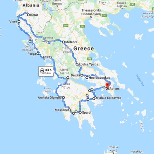 Tour map for #555 Greece+Albania off-season UNESCO sites tour 22 days from Athens. Monterrasol Travel minivan small group tour. Visit most of UNESCO Greece mainland and Albania sites.