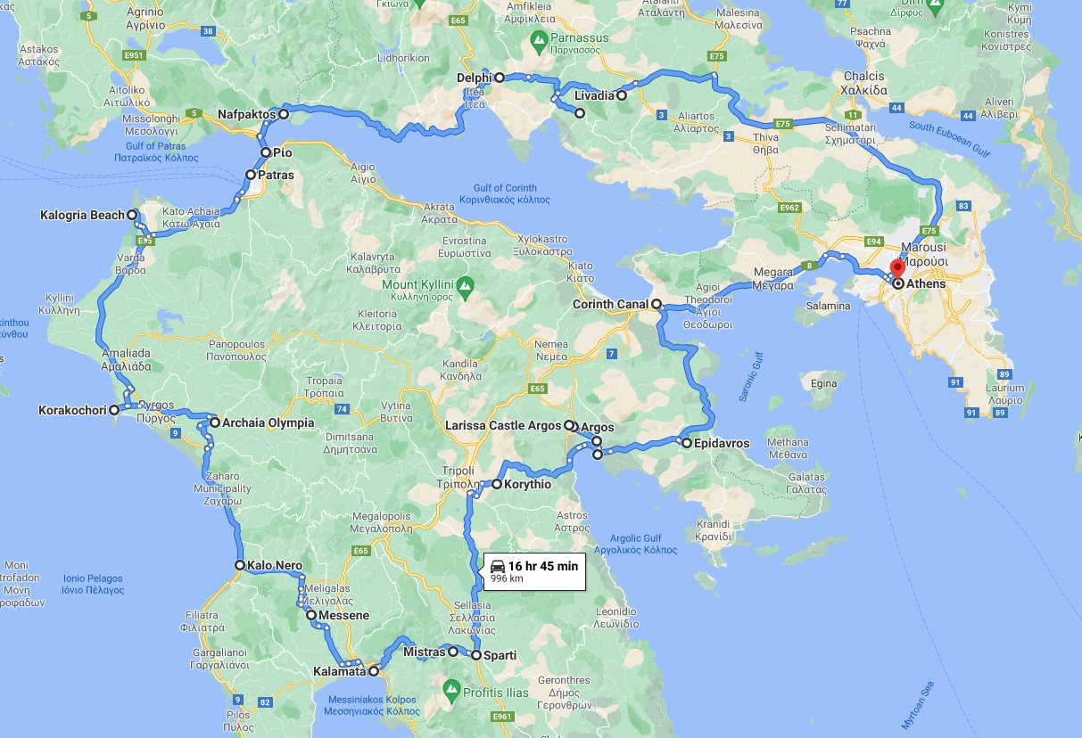 Tour map for #556 Explore Greece central region main attractions with 14 days tour from Athens. Small group car tour by Monterrasol Travel. Epidaurus, Sparta, Messene, Olympia, Delphi and other famous places.