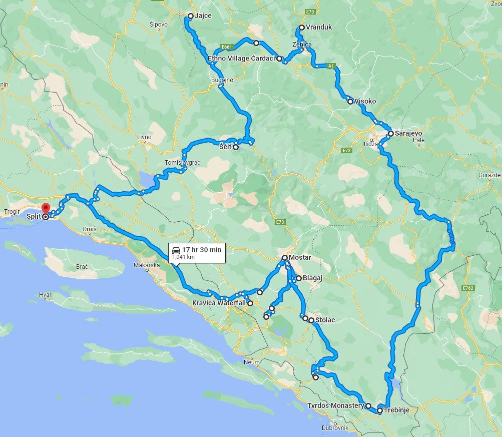 Tour map for #563 All seasons 9 days Bosnia discovery tour from Split. Small group tour in minivan from Monterrasol Travel. Visit Jajce, Travnik, Sarajevo, Mostar.