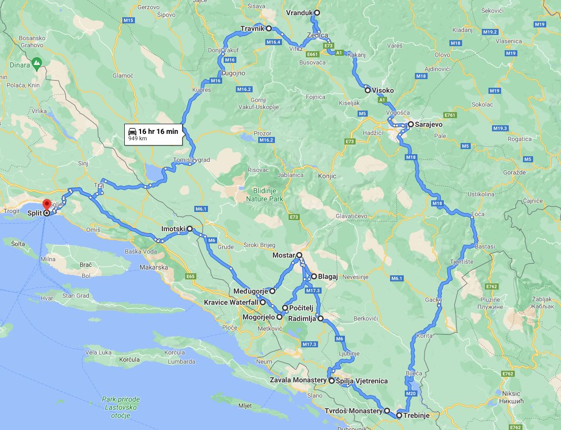 Tour map for All seasons 6 days Bosnia slow travel discovery tour from Split. Small group tour with minivan by Monterrasol Travel. Visit main attractions in Bosnia and enjoy nature, wine, history. culture, cuisine.