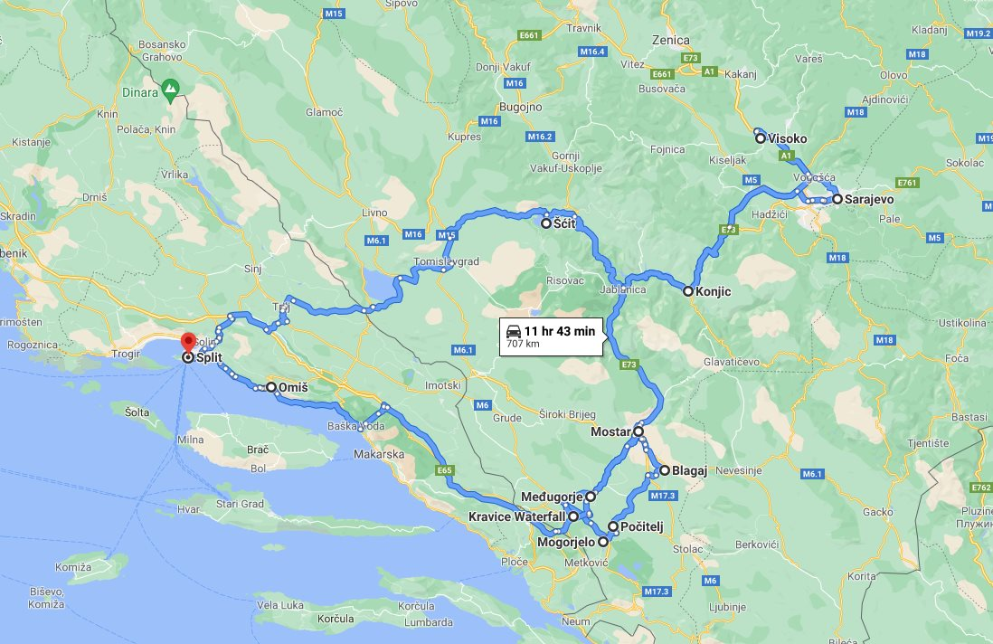 Tour map for #565 Discover Bosnia in 4 days roadtrip from Split. Small group tour with minivan from Monterrasol Travel. Visit famous Sarajevo, Mostar, Pocitelj, Kravica.