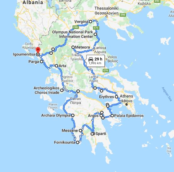 Tour map for Off-season 19 days tour Greece UNESCO sites from Igoumenitsa. Ancient towns, castles, monasteries. Small group minivan tour by Monterrasol Travel. Discover the most important UNESCO sites of Greece mainland and Peloponnese.
