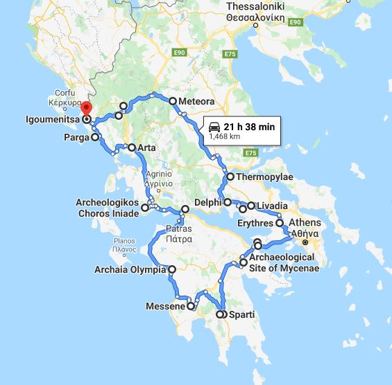 Tour map for Discover Greece in 13 days tour from Igoumenitsa. Monasteries, castles, UNESCO sites. Small group tour with minivan from Monterrasol Travel. The tour over Peloponnese and Greece mainland.
