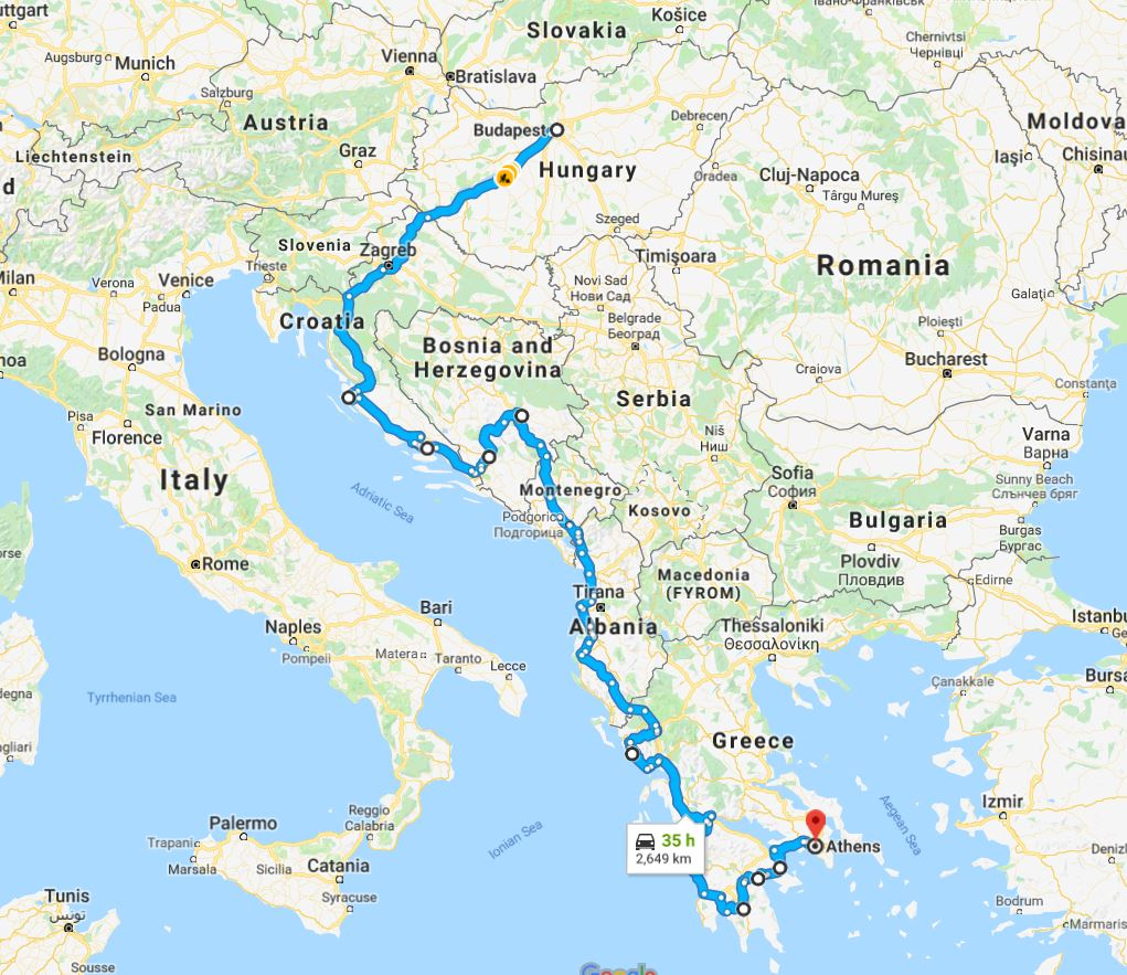Tour map for Adriatic Grand tour 29 days from Budapest to Athens. Small group tour in minivan by Monterrasol Travel. Visit the most interesting places in Hungary, Croatia, Bosnia, Albania, Greece.