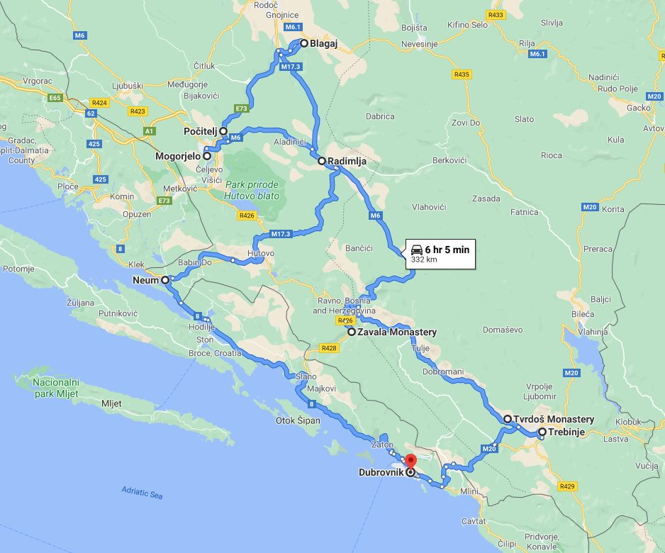 Tour map for All seasons 2 days Bosnia discovery tour from Dubrovnik. Monterrasol Travel small group tour by minivan. Trebinje, Tvrdos monastery, Blagaj tekija, Pocitelj open-air museum, Roman villa Rustica.