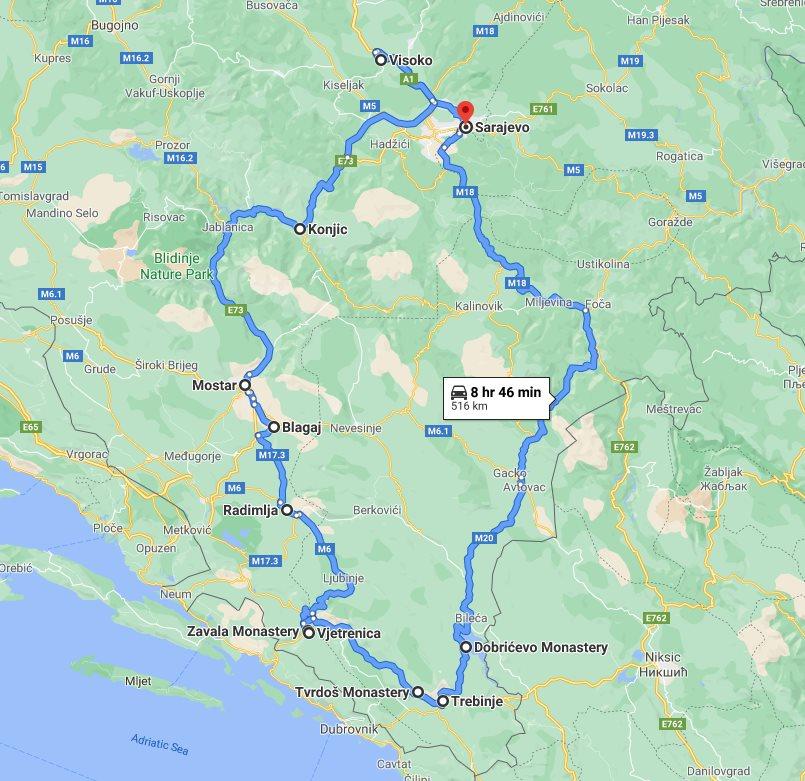 Tour map for All seasons 4 days Bosnia discovery tour from Sarajevo. Small group car tour by Monterrasol Travel. Bosnian Pyramid, Mostar, Blagaj, Zavala, Tvrdos, Trebinje.