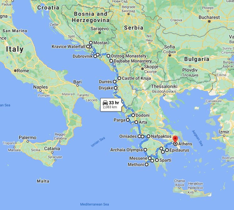 Tour map for #574 In-depth cultural panoramic 24 days tour from Dubrovnik to Athens. Small group tour with minivan from Monterrasol Travel. Explore Bosnia and Greece, discover Montenegro, meet Albania.