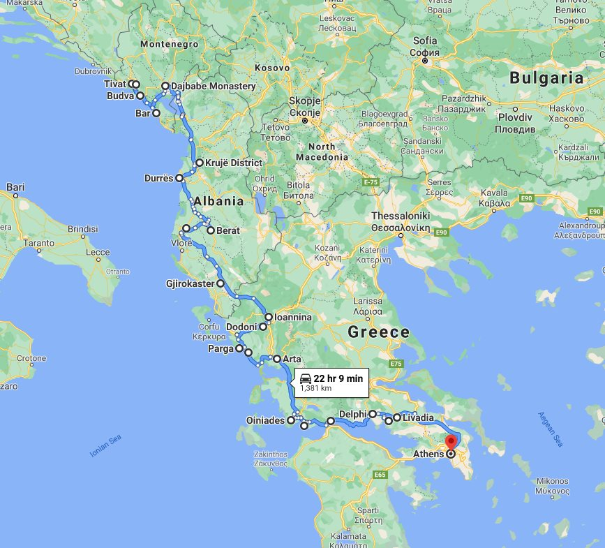 Tour map for Travel 15 days Adriatic coast of Montenegro and Albania + discover Greece mainland. Monterrasol Travel small group tour in minivan. All seasons tour from Tivat to Athens.