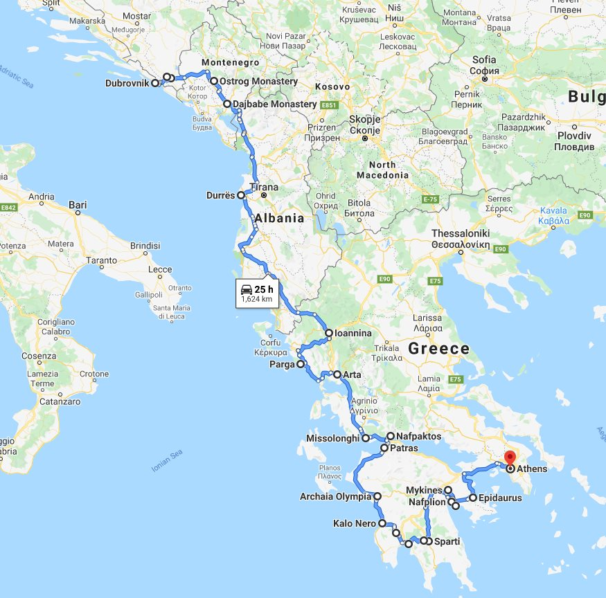 Tour map for Amazing south Balkans 18 days tour from Dubrovnik to Athens. Small group minivan tour by Monterrasol Travel. Visit Bosnia, Montenegro, Albania, Greece mainland.