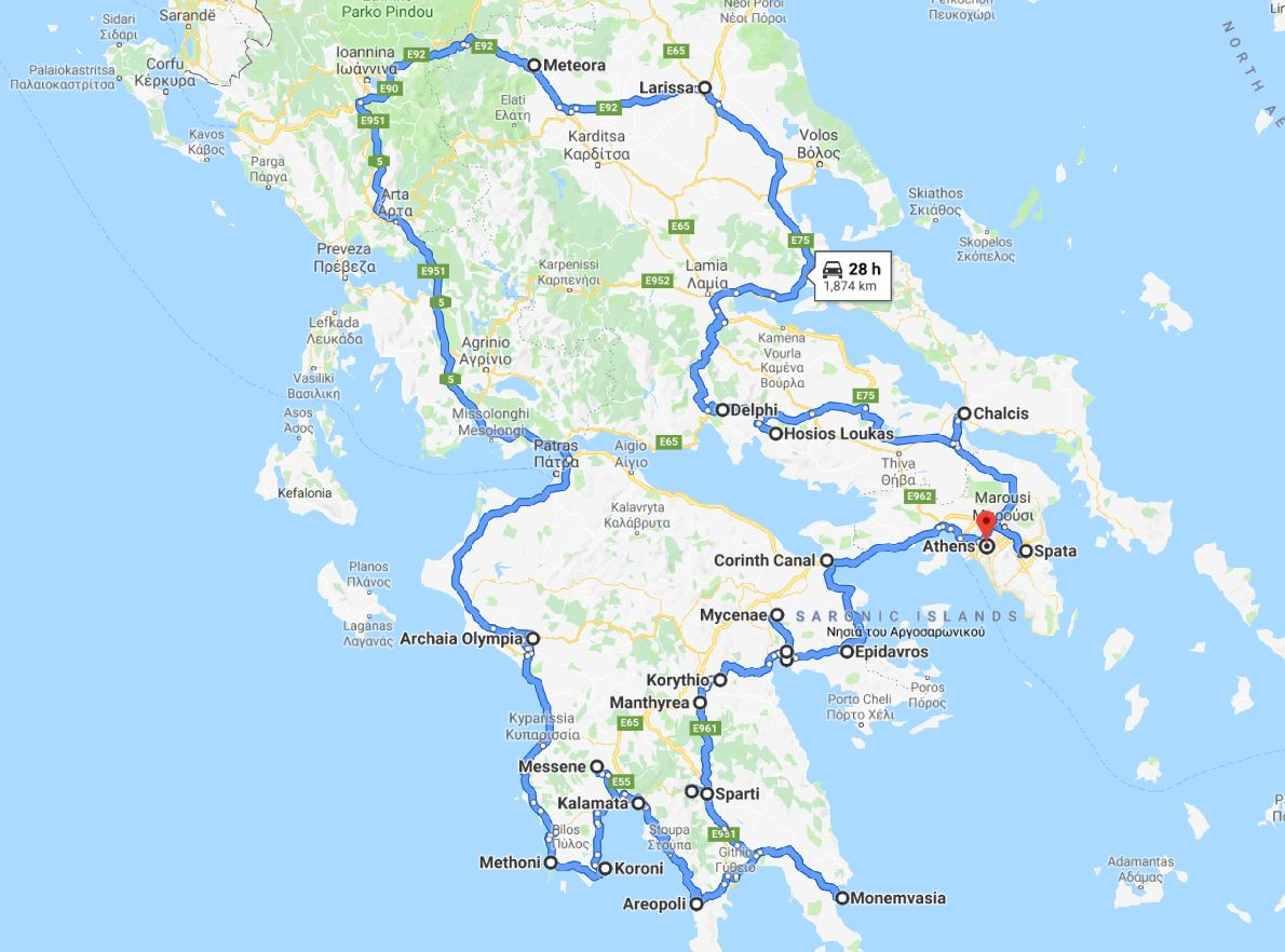 Tour map for Greece off-season UNESCO places tour 19 days from Athens. Monterrasol Travel small group tour in minivan. Visit most of Greece mainland UNESCO and tentative list places.