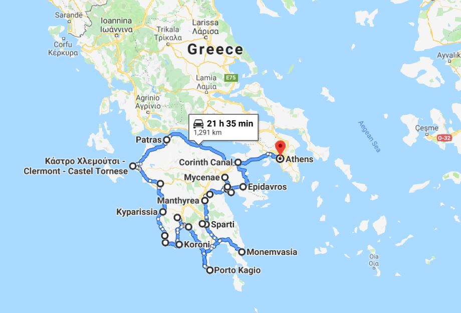 Tour map for Greek Peloponnese round tour in 15 days. Visit all main attraction of Peloponnese peninsula and see castles, ancient places, beaches. This is Peloponnese where located Sparta, Corinth, Mycenae, Epidaurus, Monemvasia. Monterrasol sightseeing 15 days small group tour from Athens (Greece) by travel agency specialize on small group car tours. Travel with Monterrasol from Athens (Greece) and discover Greece!