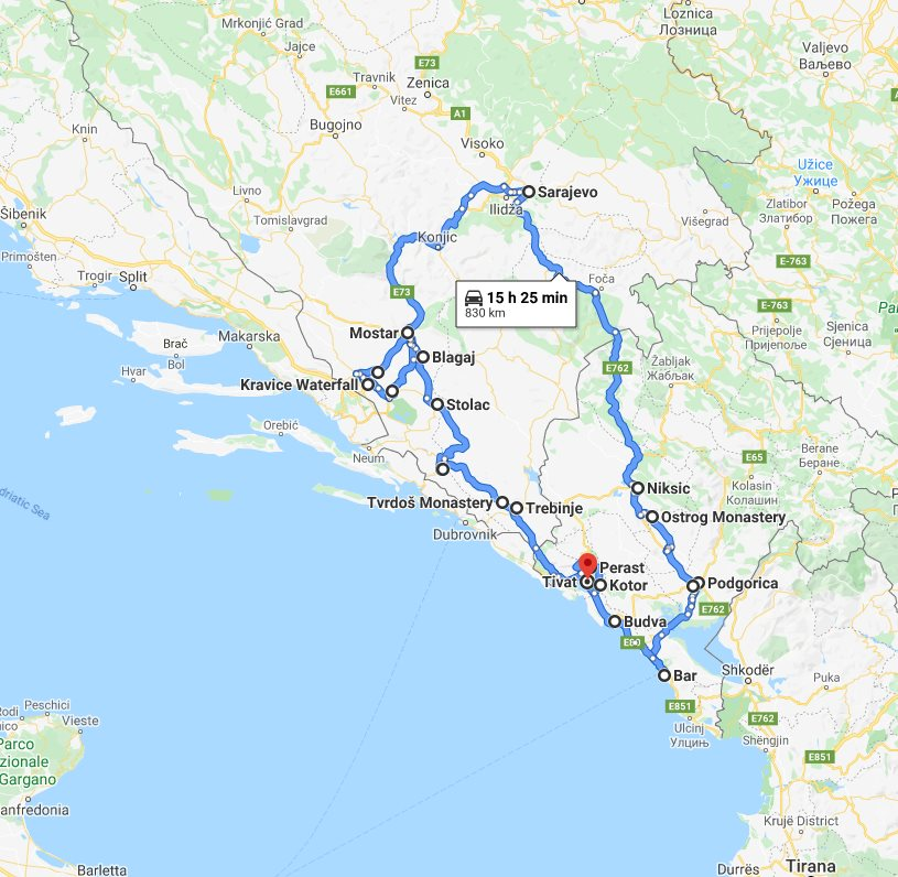 Tour map for Off-season 8 days tour over Bosnia and Montenegro from Tivat. Minivan small group tour by Monterrasol Travel. Explore the best in Bosnia and Montenegro.