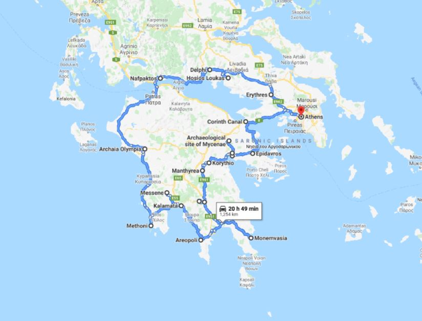 Tour map for Greece cultural tour 12 days from Athens. Monterrasol Travel small group minivan tour. Visit main Greece mainland UNESCO and tentative list places.