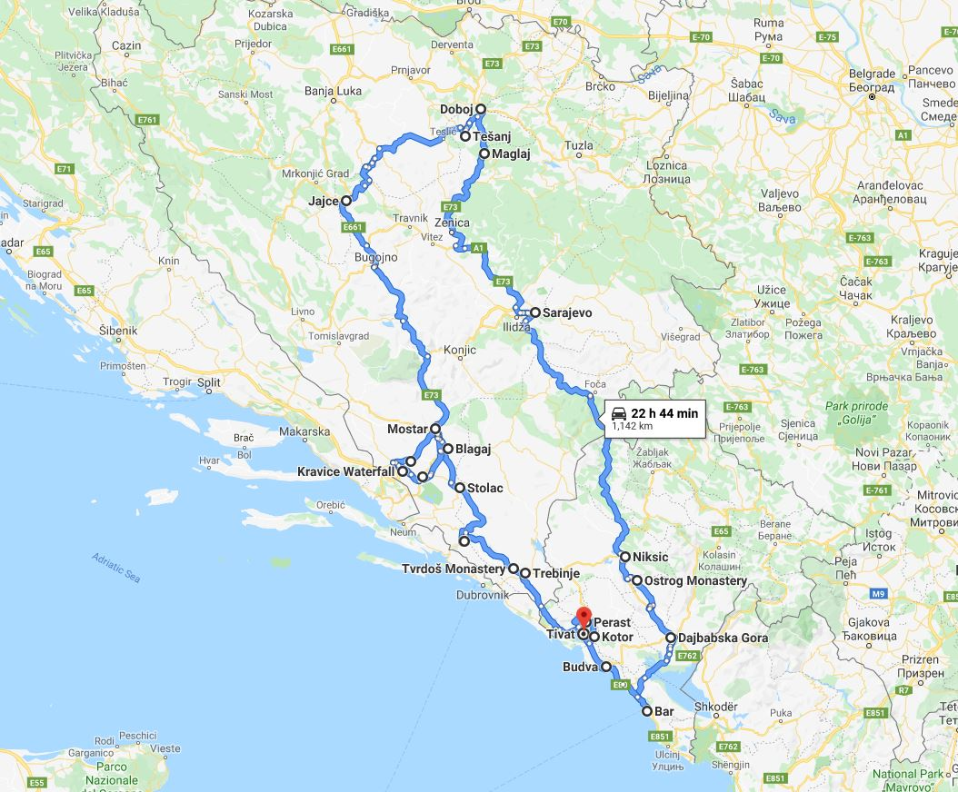 Tour map for Out of season 11 days panoramic tour from Tivat to discover Bosnia and Montenegro. Monterrasol Travel small group car tour. Explore the best in Bosnia and Montenegro.