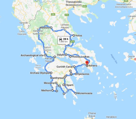 Tour map for Greece off-season UNESCO places tour 17 days from Athens. Monterrasol Travel minivan small group tour. Visit main Greece mainland UNESCO and tentative list places.