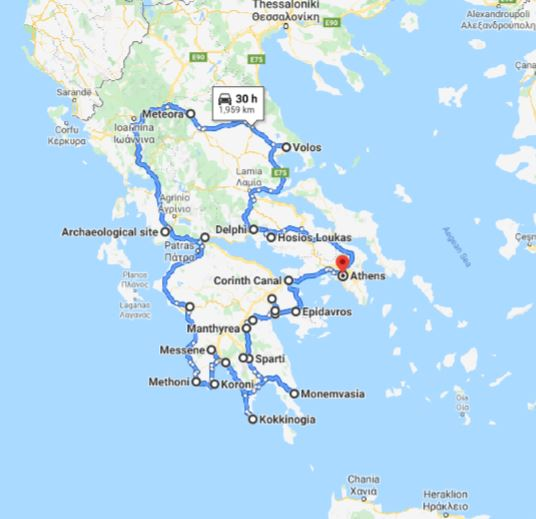 Tour map for Greece off-season UNESCO places tour 21 days from Athens. Monterrasol Travel small group car tour. Visit most Greece mainland UNESCO and tentative list places.