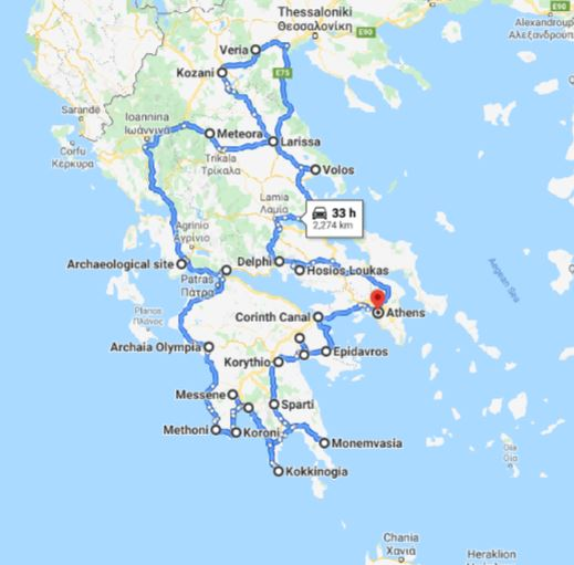 Tour map for Greece off-season UNESCO places tour 23 days from Athens. Monterrasol Travel small group tour by minivan. Visit most Greece mainland UNESCO and tentative list places.