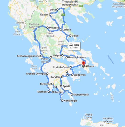 Tour map for Greece off-season UNESCO places tour 25 days from Athens. Small group tour in minivan from Monterrasol Travel. Visit most Greece mainland UNESCO and tentative list places.