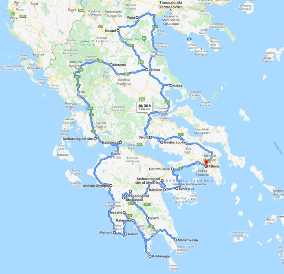 Tour map for Greece off-season UNESCO places tour 27 days from Athens. Minivan small group tour by Monterrasol Travel. Visit most Greece mainland UNESCO and tentative list places.