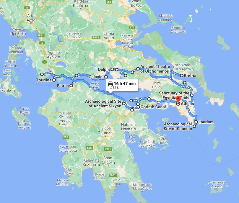 Tour map for Greece off the beaten path 14 days tour from Athens. Ancient theaters, beaches, castles and monasteries. Monterrasol Travel tour with small group minivan. Discover less touristy areas of central Greece and understand Greek's national character.