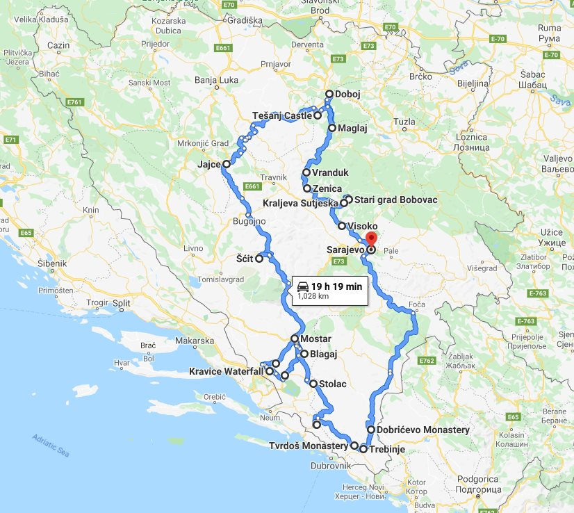 Tour map for #602 All seasons 11 days Bosnia discovery non-touristy tour from Sarajevo. Monterrasol Travel small group tour by car. Off the beaten path travel to Medieval land of Bosnia.