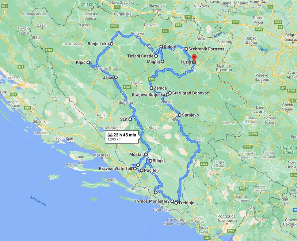 Tour map for All seasons 17 days Bosnia discovery non-touristy places tour from Tuzla. Small group tour with minivan by Monterrasol Travel. Explore Medieval land of Bosnia by off the beaten path travel.
