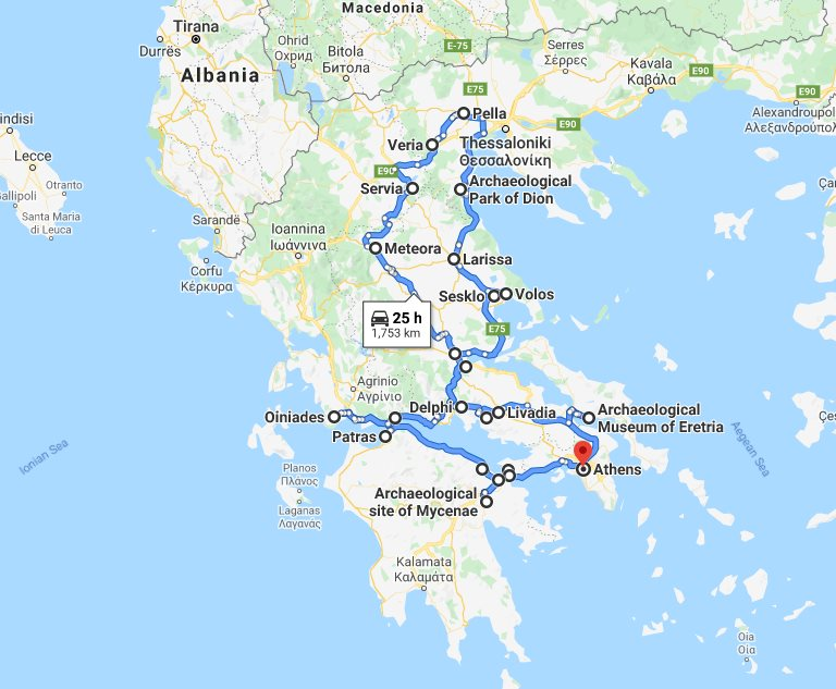 Tour map for #605 Central Greece off-season 24 days tour from Athens. Small group tour in minivan by Monterrasol Travel. Visit non-touristy and UNESCO and tentative list sites of Greece mainland.