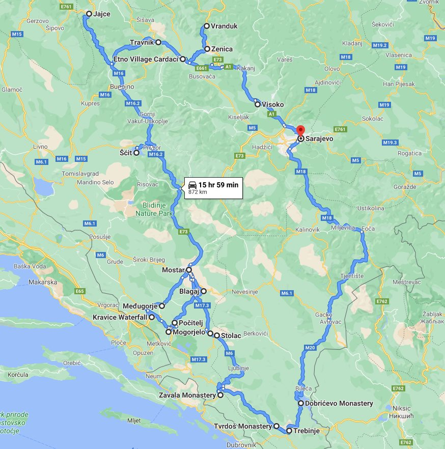 Tour map for All seasons 8 days Bosnia discovery tour from Sarajevo. Monterrasol Travel small group tour by car. Bosnia travel off the beaten path.