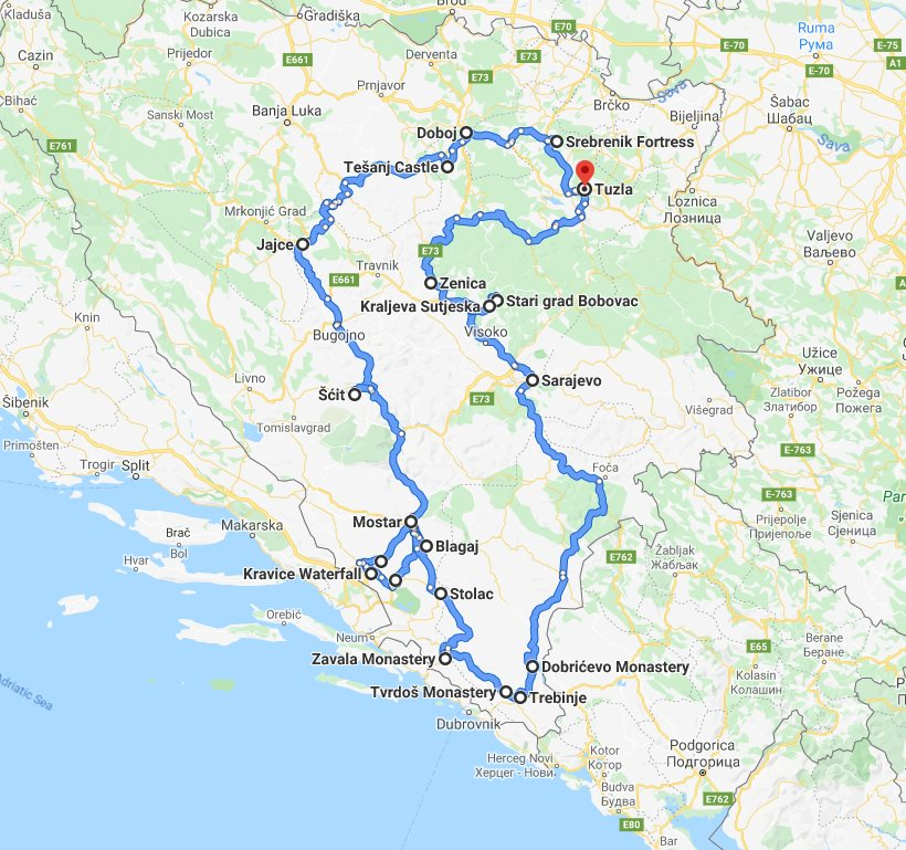 Tour map for All seasons 9 days Bosnia discovery non-touristy places tour from Tuzla. Small group tour with minivan by Monterrasol Travel. Explore Medieval land of Bosnia by off the beaten path travel.