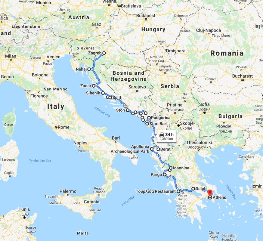 Tour map for Explore Croatia Bosnia Montenegro Albania Greece by cultural tour 21 days. Monterrasol Travel small group minivan tour. Balkans roadtrip from Zagreb to Athens. Old towns, fortresses, monasteries, UNESCO sites.