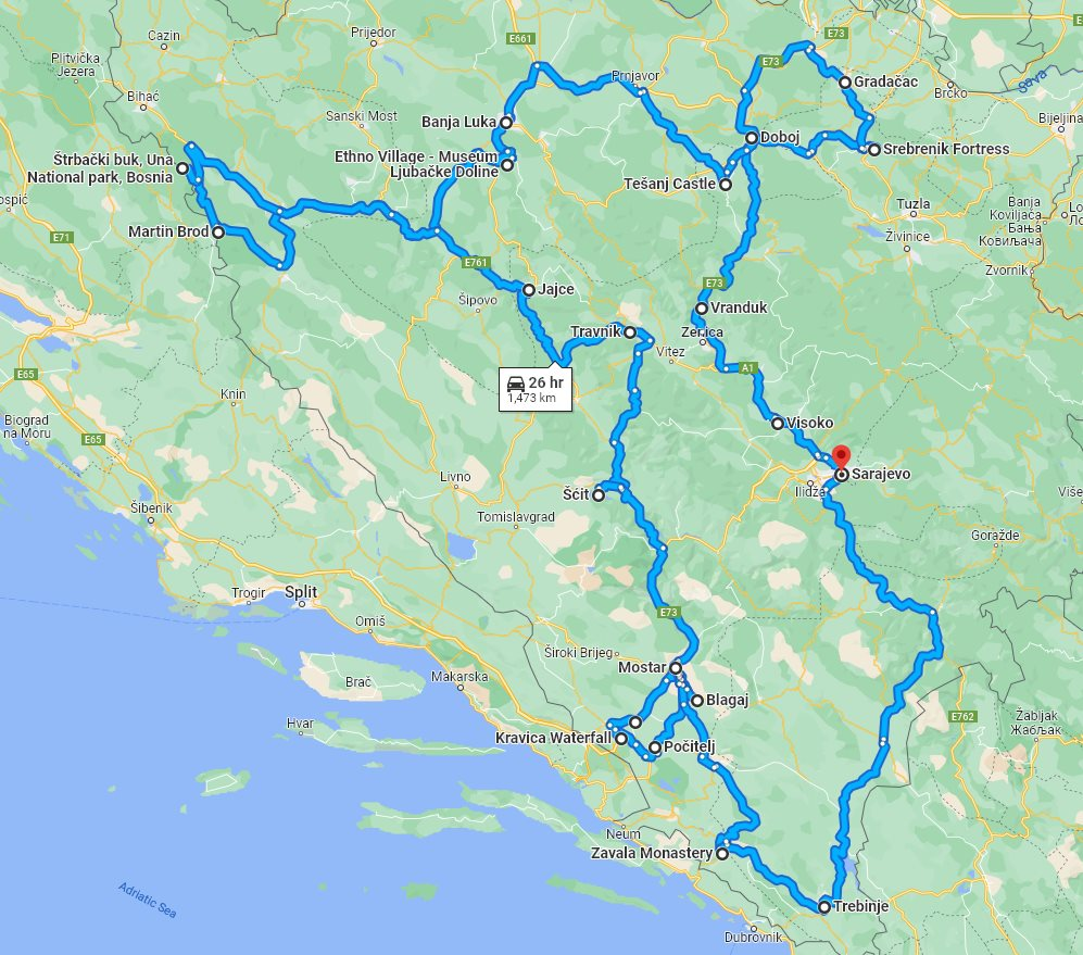 Tour map for All seasons 15 days Bosnia discovery non-touristy cultural tour from Sarajevo. Small group tour in minivan by Monterrasol Travel. Off the beaten path travel to Medieval land of Bosnia.